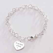 Heart Link Memorial Bracelet with Custom Engraved Heart